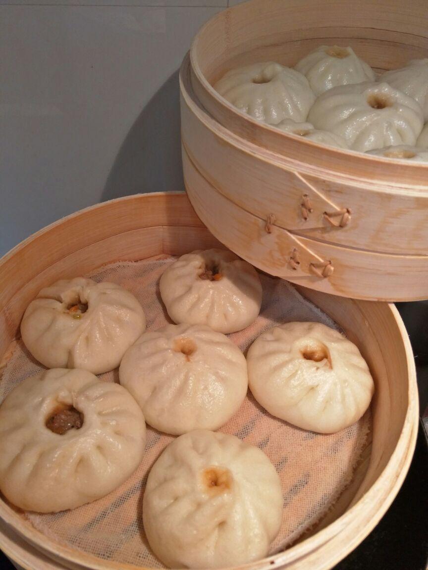 Speisen Garen Im Bambus Dampfgarer Und Edelstahl Dampfgarer Ting